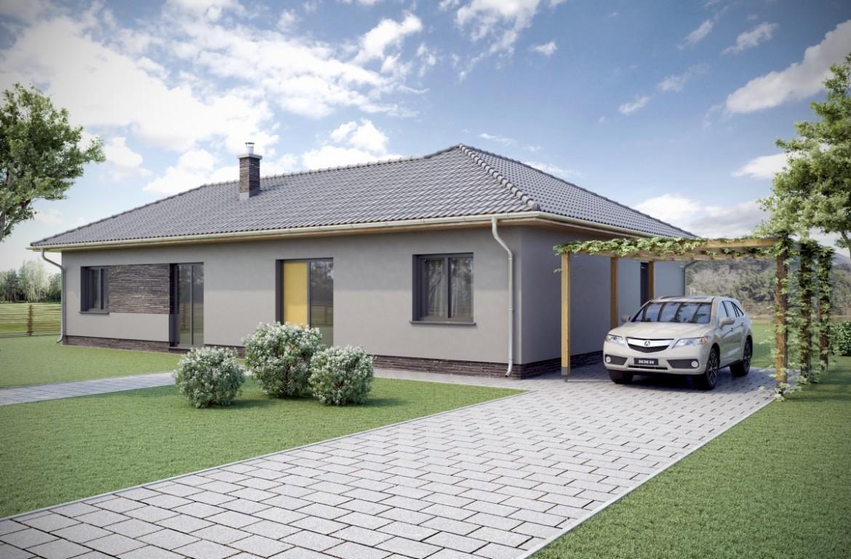 Vizualizace rodinného domu půdorysného tvaru L. Jednopatrový bungalov s vazníkovou střechou.