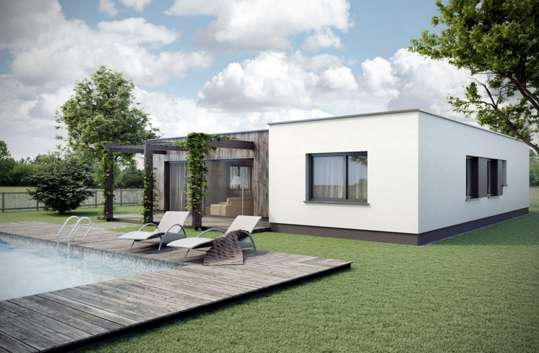 Vizualizace moderního rodinného domu. Jednopatrový funkcionalistický dům s plochou střechou.