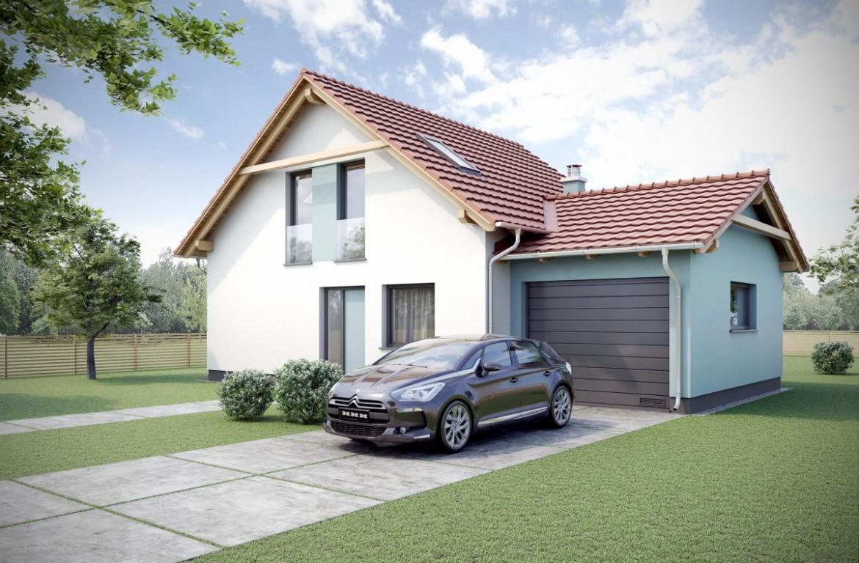 Vizualizace klasického rodinného domu. Dvoupatrová dřevostavba s podkrovím, které je tvořeno sedlovou střechou s vikýři.